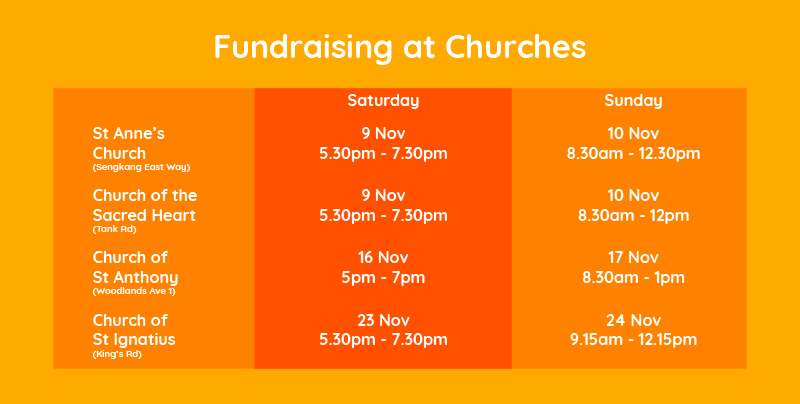 Schedule for fundraising at churches