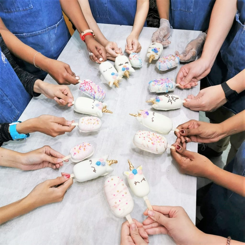 We made unicorn cake pops for our team bonding activity