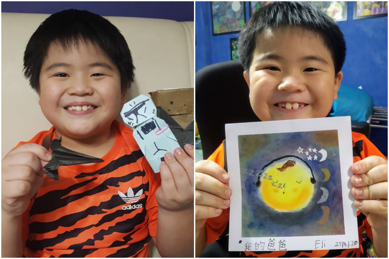 Eli Sim enjoyed teaching his friends to do Star Wars origami (left) to his friends via Zoom and doing Nagomi Art. PHOTOS: COURTESY TO CAROL LIM